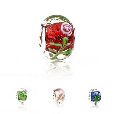 New Fashion Transparent Glass Flowers Beads Charms Fit Pandora Bracelets & Bangles for Women Maxi DIY Jewelry Party Gifts Bijoux