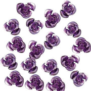 50 pcs 8mm Purple Aluminum Beads Aluminum Rose Beads