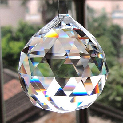 Glass Crystal Ball Beads Prism Chandelier Clear 20mm Faceted Crystal Parts Hanging Pendant Lighting Ball Suncatcher