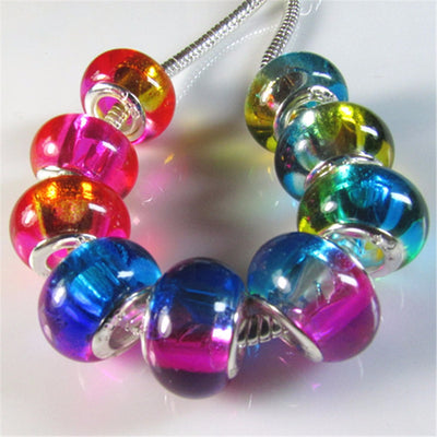 Hot 5pcs/lot Double Color Gradual Change Big Hole Transparent Glass Charm Beads Fit European Bracelet for DIY