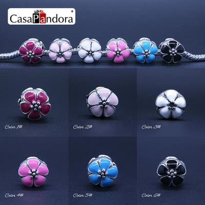 CasaPandora 6 Colors 925 Plated Flower Clover Shape Fit Bracelet Charm DIY Enamel Bead Jewelry Making Pingente Berloque