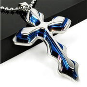 2019 New Fashion Necklace Men Creative Three-tiered Blue and Black Cross Pendant 50cm Beads Chain Necklace Jewelry Gifts for Men