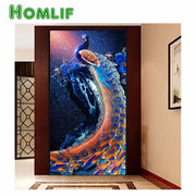 5d diy custom diamond painting kits diamond painting eigen foto blue Peacock full square stitch Diamond embroidery mosaic gifts