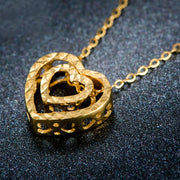 18K Pure Gold Pendant Real AU 750 Solid Gold Charm Nice Double Heart Upscale Trendy Classic Party Fine Jewelry Hot Sell New 2018