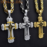 SUNNERLEES 316L Stainless Steel Jesus Christ Cross Pendant Necklace Byzantine Link Chain Silver Gold Black Men Boys Gift SP208