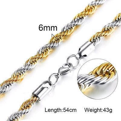 Vnox Stainless Steel Rope Chain Men Necklace Silver Gold Tone Twisted Wave Links Basic Chains Choker Unisex Punk Jewelry