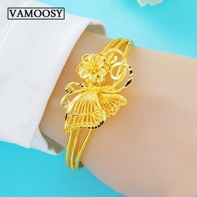 Exquisite Hand Made Carving Flower Shape Cuff Bangle Bracelet for Women Pure 24K Gold Open Bracelet Fashion Jewelry Wholesale