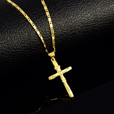High quality pure gold color Cross charm pendant necklaces for women Men 24K yellow gold filled necklaces wedding jewelry