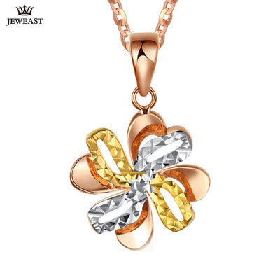 18K Pure Gold Pendant Real AU 750 Solid Gold Charm Multicolor Flower Upscale Trendy Classic Party Fine Jewelry Hot Sell New 2018