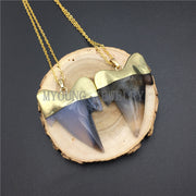 MY0906 Gray Agates Shark Teeth Pendant Necklace With Pure Gold Color Chain