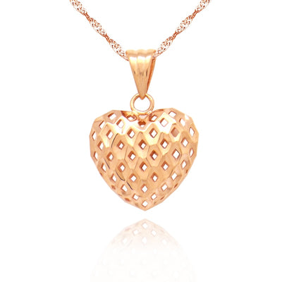 Boraizy 18k Pure Gold Hallow Heart Charm Pendant Rose Yellow AU750 Solid Fine Jewelry for Women Girl Female Lady Gift