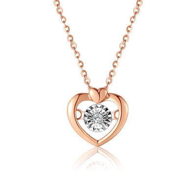 QYI Diamond Necklace 18k Pure Gold  Heart Charm Pendant Rose gold AU750 Solid Fine Jewelry for Girl Gift