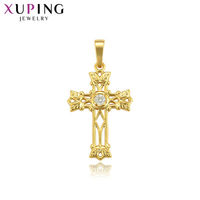 Xuping Fashion Jewelry for Women Gift Pure Gold-color Plated Slide Pendant with Synthetic Cubic Zirconia S102.5-34564