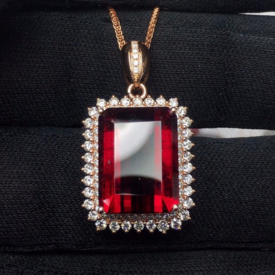 Fine Jewelry Real Pure 18 K Gold 100% Natural  Rubi Tourmaline 12ct Female Diamonds Gemstone Diamond Women's Pendants Necklaces
