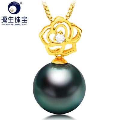 YS 10-11mm Black Saltwater Tahitian Pearl Pure 18K Gold Pendant Necklace Fine Jewelry