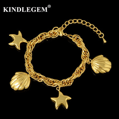 Kindlegem Wholesale Italy 750 Pure Gold Color Charms Bracelet For Women Girl Party Daily Bangles Jewelry Big Shell Star Drop