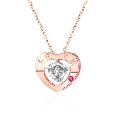 QYI Ruby Diamond Necklace Heart shape 18k Pure Gold Pendant  AU750 Two colors to choose from Fine Jewelry for Girl Gift