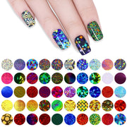50pcs Watermark Shimmer Holographic Starry Sky Nail Foils Transfer Rolls 4*20cm Colorful Nail Stickers DIY for Nails Sticker Art