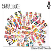 Nail 24Sheets/Lot Mix 24 Different POP ART Nail Art Water Sticker Decal For Gel Nail Art Decoration 24BN359