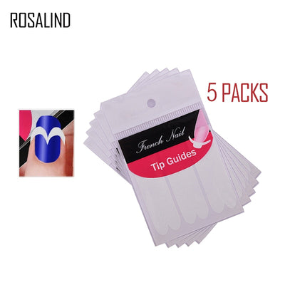 ROSALIND 5 Packs French Manicure UV Gel Sticker Smile Tip Guides Pedicure DIY Nail Art Stickers Makeup Nail Art Tools