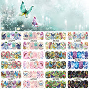 12 Sheets Nail Art Water Transfer Sticker Full Cover Butterfly Dream Color Decals Stickers Wrap Tips Decoration A1297-1308
