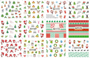 12 Sheets/Lot Nail A1165-1176 Green Father Christmas XMAS Gift Nail Art Water Wraps Sticker Decal For Nail (12 DESIGNS IN 1)