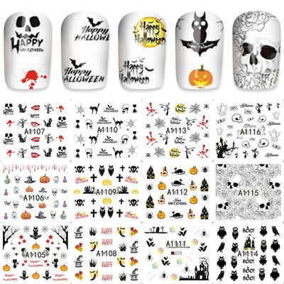 YZWLE 12pcs/Lot Beauty Nails Owl/Pumpkin Nail Art Water Decals Holiday Nail Transfer Stickers A1105-1116