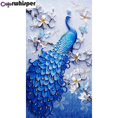 5D Diamond Painting Full Square/Round Drill Blue Peacock Daimond Painting Cross Stitch Kit Embroidery Mosaic Picture Art 052QW