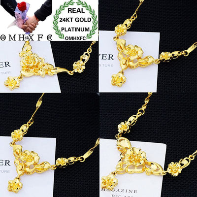 Wholesale European Fashion Woman Female Party Birthday Wedding Gift Vintage Flower Real 24KT Gold Pendant Necklace