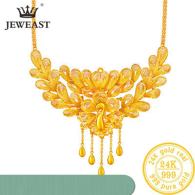 Designer Cleopatra Necklace  Pure Gold Necklace Real AU 999 Solid Gold Chain Beautiful Leaf Upscale