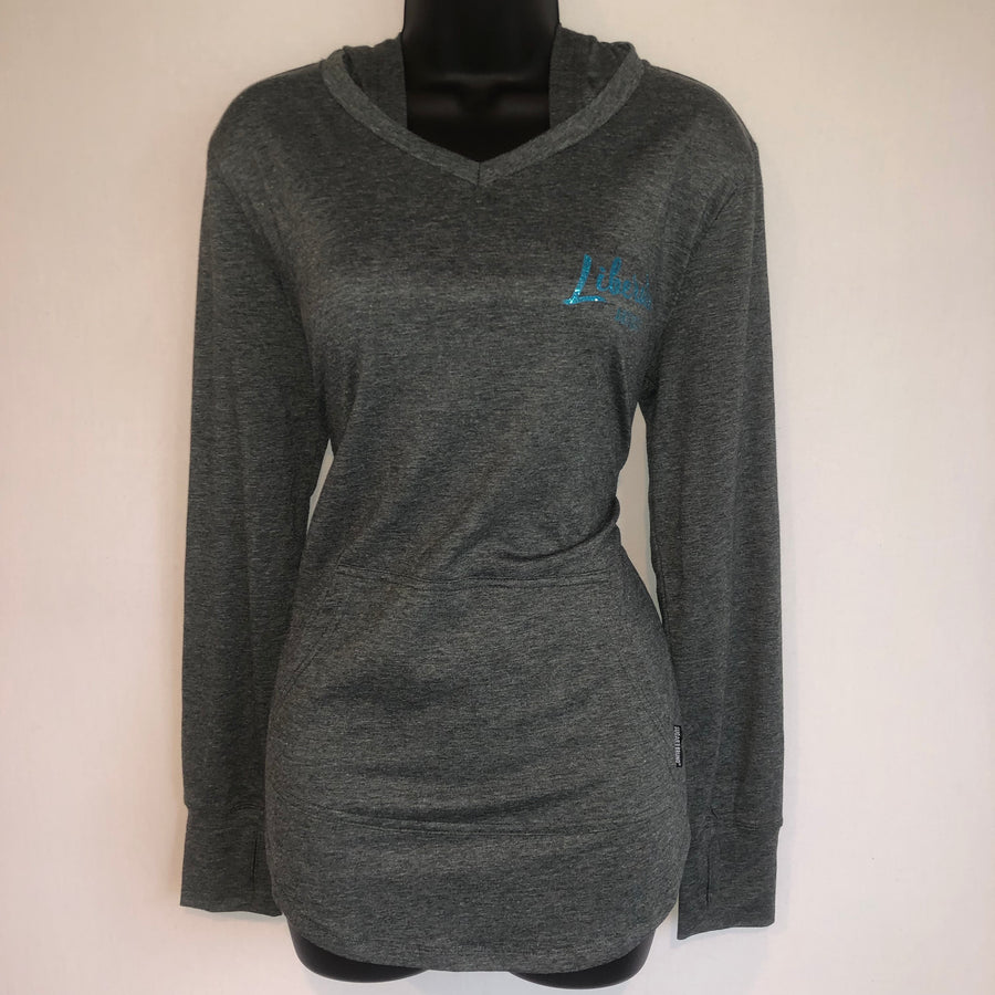 Hoodie - Gray with Blue Glitter Logo