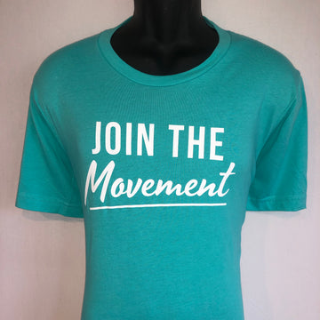 Short Sleeve Tee - Join The Movement, Teal & White
