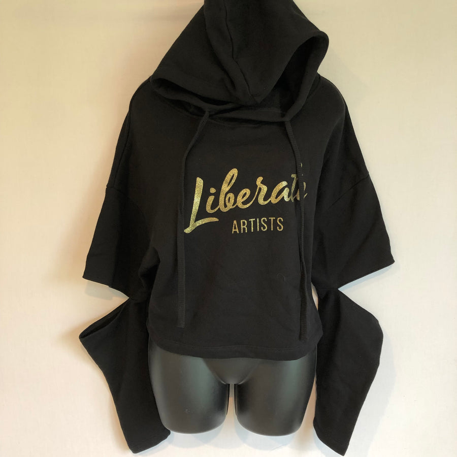 Fashion Cut Hoodie - Black with Large Gold Logo