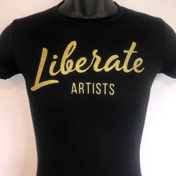 Short Sleeve Tee - Large Logo, Black & Gold