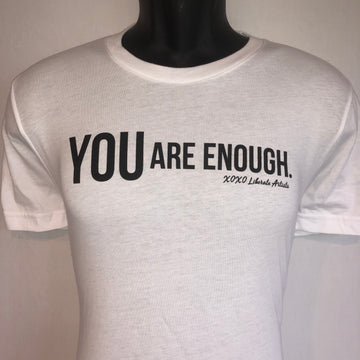 Short Sleeve Tee - YOU are enough, White with Black Logo