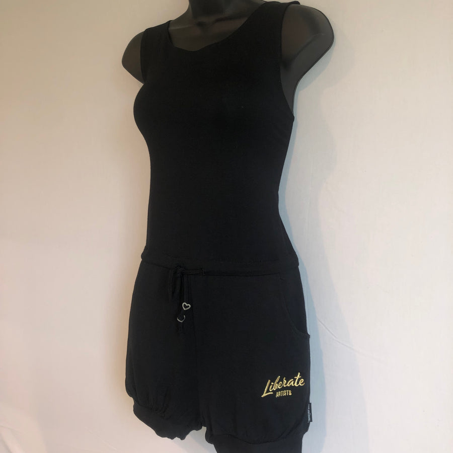 Romper - Black with Embroidered Gold Liberate Logo