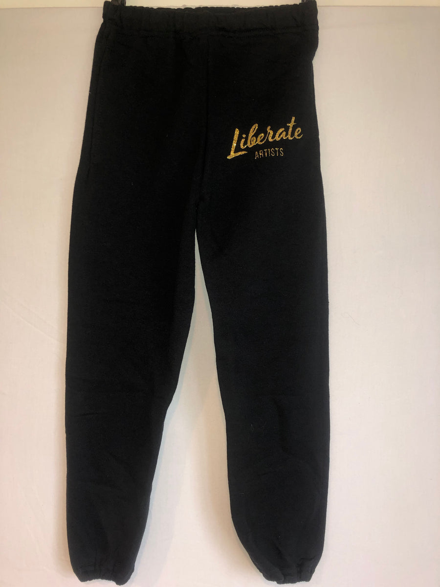 Sweatpants - Black with Gold Glitter Logo