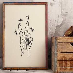 Peace • Peace Sign Original Lino Print A4 BLACK