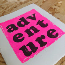 Load image into Gallery viewer, Adventure Original Lino Print NEON PINK