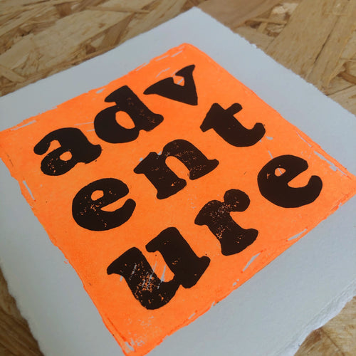 Adventure Original Lino Print NEON ORANGE
