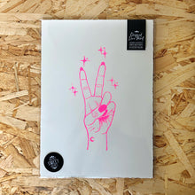 Load image into Gallery viewer, Peace • Peace Sign Original Lino Print A4 NEON PINK