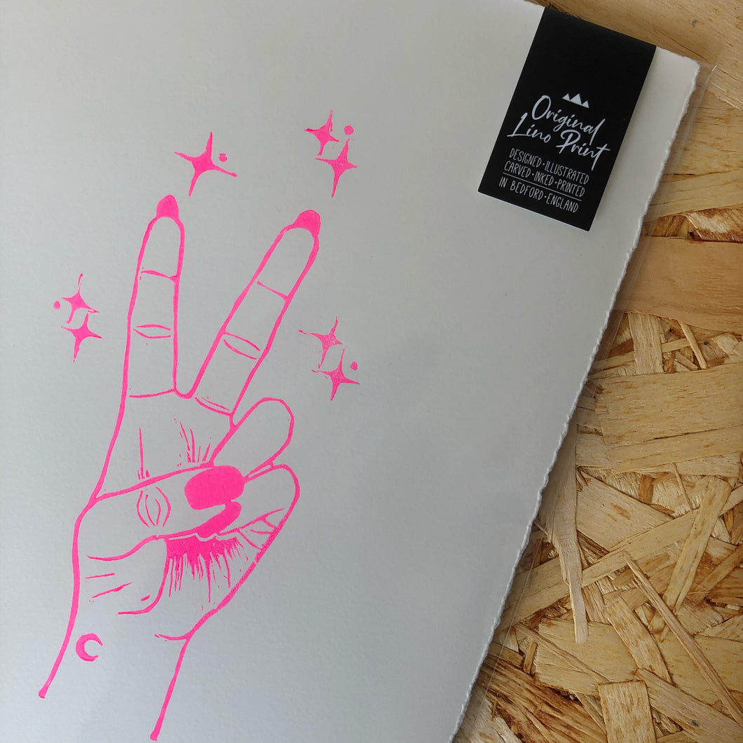 Peace • Peace Sign Original Lino Print A4 NEON PINK