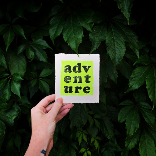 Adventure Original Lino Print NEON YELLOW