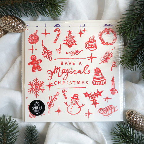 Hand Printed Magical Christmas Cards • Pack of 4