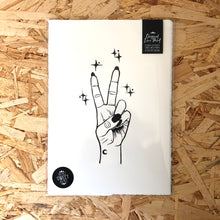 Load image into Gallery viewer, Peace • Peace Sign Original Lino Print A4 BLACK