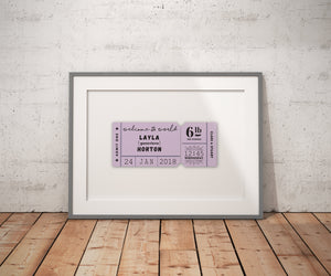 Personalised New Baby 'Welcome To The World' Giclee Print