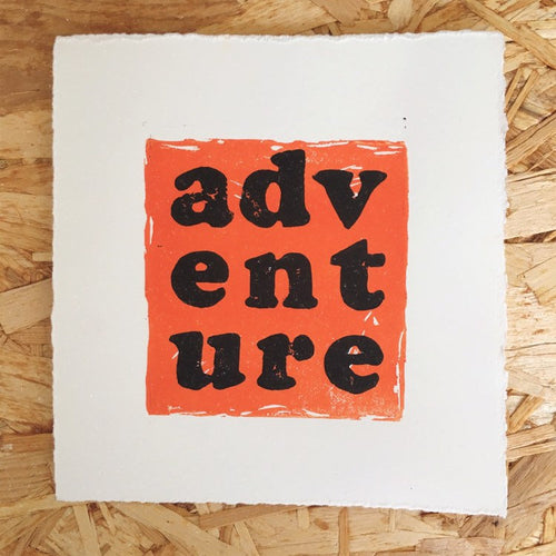 Adventure Original Lino Print ORANGE