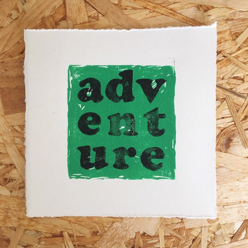 Adventure Original Lino Print GREEN