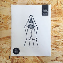 Load image into Gallery viewer, Namaste Yoga Third Eye Original Lino Print A4 BLACK