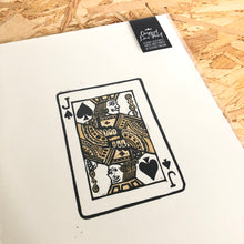Load image into Gallery viewer, Metallic Gold Jack • Playing Card, Jack of Spades Original 4 Layer Lino Cut Print A4